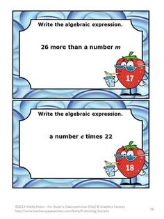Algebraic Expressions: Algebra Task Cards and More! This 47 page algebra math unit focuses on Common Core Algebra Skills 5.0A and 6.EE for Operations and Algebraic Thinking: Write and Interpret Numerical Expressions. https://www.teacherspayteachers.com/Product/Algebraic-Expressions-Algebra-Task-Cards-705511