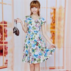 12 colors 2014 women summer V-neck milk silk bottoming printing one-piece  dress 1dbae5b5c