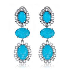 897038395 Shop Semi-precious Bounkit Turquoise and Clear Quartz Crystal Drop  Statement Earrings and Bounkit NYC