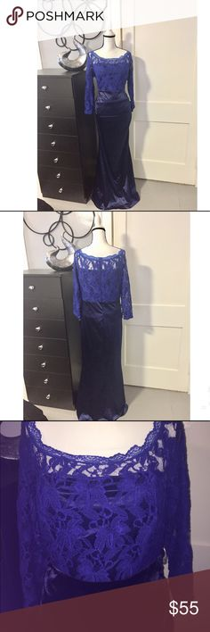Lace Royal Blue Formal Dress Sz XXL Lace Royal Blue Formal Dress Sz XXL.  Arm pit to arm pit 20' Inches laid flat. 17' Inches across Waist laid flat. 21' Inches Across Hips laid flat. From shoulder to hem 57'inches long. Sorry no pictures available of anyone wearing it. Please see measurements. I bought this dress on eBay and then lost weight so I never had a chance to wear it. I was a size 16 when it was purchased. Lightweight and lined to the knee. Perfect for the mother of the bride or a…
