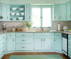 Aqua cabinets via Indulgy. #laylagrayce #kitchen #aqua