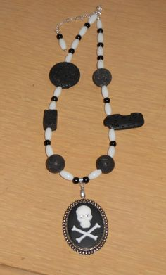 Skull and Crossbone pendant with necklace by CreationsbyMaryEllen, $20.75
