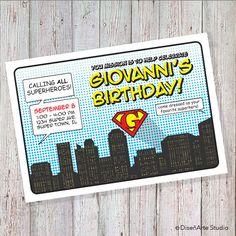 Superhero Birthday Invitation DIGITAL FILE