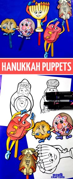 Print and craft these fun Hanukkah puppets! Grab n print these fun, animated Hanukkah puppets – an easy chanukah coloring pages set and activ Crafts For Teens, Crafts To Make, Fun Crafts, Hanukkah Crafts, Holiday Crafts, Hannukah, Menorah, Winter Activities, Activities For Kids