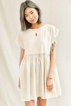 Urban Renewal Remade Raw Edge Linen Babydoll Dress Medium
