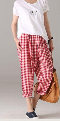 Summer Red Plaid Harem Pants Women Cotton Linen Trousers K9290