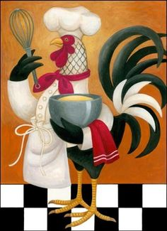 I have a set of 3 ceramic Rooster Chefs. Adorable.