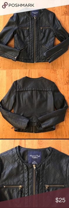 American Eagle Vegan Leather Moto Jacket This is a very cool, barely worn American Eagle collarless moto-style jacket. Vegan leather. (100% polyurethane). Quilted stitching on front panel. Zippered front chest and side pockets. You WILL look awesome in this. American Eagle Outfitters Jackets & Coats
