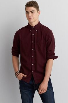 AEO Solid Poplin Button Down Shirt , Burgundy | American Eagle ...