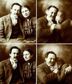 A Victorian Couple Trying Not To Laugh While Getting Their Portraits Done 1890s