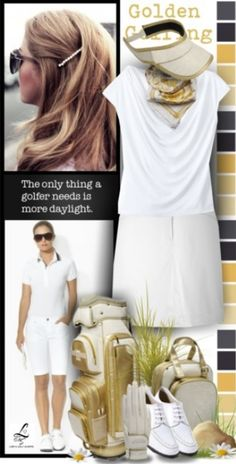 Love this white and gold golf look! Only at lorisgolfshoppe.polyvore.com #golf #ootd #lorisgolfshoppe