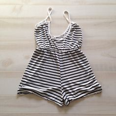 Black and white striped romper Light weight, slightly thin, stretchy material. Tops Tank Tops