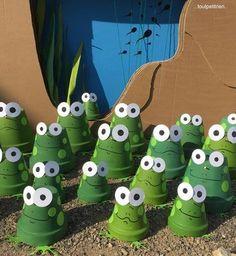 DIY summer: frogs with terracotta pots.toutpetitrien / bricos / – fleurysylvie - All About Flower Pot Crafts, Clay Pot Crafts, Diy Clay, Flower Pots, Flower Pot People, Clay Pot People, Frog Crafts, Garden Crafts, Clay Pot Projects For Garden