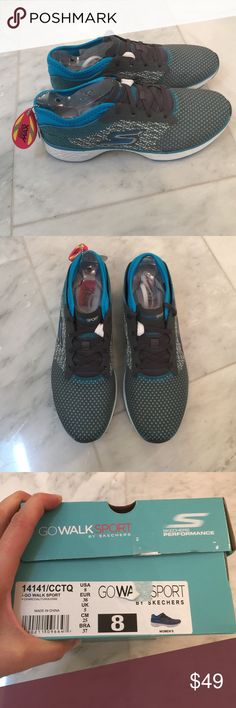 NWT Skechers Goga Max Sneakers Shoes 8 blue gray Brand new in the box! Skechers Shoes Sneakers