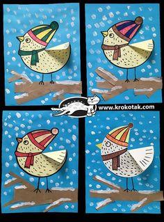 Winter bird crafts for kids art projects ideas Christmas Activities For Kids, Winter Crafts For Kids, Winter Kids, Craft Activities For Kids, Art For Kids, Craft Ideas, Kids Math, Winter Snow, Unicorn Crafts