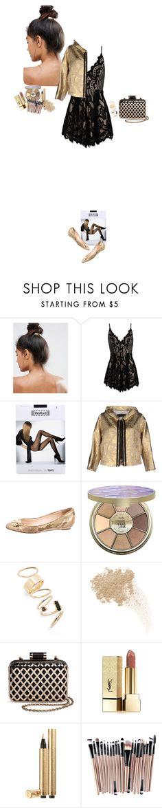 """""""Black and gold"""" by blueeyed-dreamer ❤ liked on Polyvore featuring Kitsch, Sans Souci, Wolford, Dsquared2, Loeffler Randall, tarte, BP., W3LL People, Tevolio and Yves Saint Laurent"""