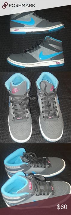 Nike Blue Grey Pink 7Y Hi Tops Prestige 588068-040 Nike 7y Grey with blue accents and pink Nike Shoes
