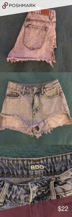 BDG Acid Wash Lavender Denim Shorts Size 26. Light blue BDG acid wash denim shorts with a light tinge of lavender. High waisted. Never worn. Perfect condition! I love these so much but I just never wore them.  Urban Outfitters Shorts Jean Shorts