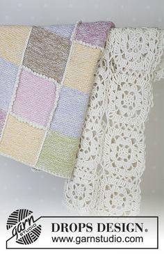 Daisy Meadow / DROPS Baby - Crochet blanket in 2 threads of Alpaca Crochet Square Blanket, Crochet Square Patterns, Afghan Patterns, Crochet Squares, Knitting Patterns Free, Free Knitting, Crochet Stitches, Manta Crochet, Crochet Baby
