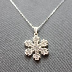 Sterling Silver Snowflake Necklace  Snow Charm by LibertaFashion, $23.00