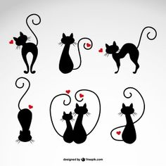 In love cats vector illustrations