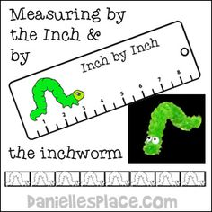 Inchworm Measuring Craft and Learning Activities Including an Inchworm Bookmark, Inchworm mearsuing Tape, and a Chenille Stem Inchworm Craft from www.daniellesplace.com
