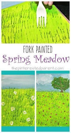 Fork Painted Spring Meadow – kids art projects for the spring. Fun arts and craft and painting technique Fork Painted Spring Meadow – kids art projects for the spring. Fun arts and craft and painting technique Fun Arts And Crafts, Arts And Crafts Projects, Projects For Kids, Fun Crafts, Children Art Projects, Cool Art Projects, Family Art Projects, Art Children, Diy Projects