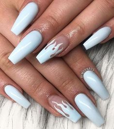 In seek out some nail designs and ideas for your nails? Listed here is our list of must-try coffin acrylic nails for trendy women. Acrylic Nail Designs Coffin, Acrylic Nails Coffin Short, Square Acrylic Nails, White Acrylic Nails, Pastel Nails, Acrylic Nail Designs For Summer, Coffin Nails Designs Summer, Blue Ombre Nails, Coffin Acrylics