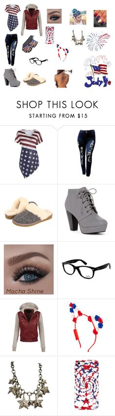 """the 4th of july"" by miranda-rose20 on Polyvore featuring UGG Australia, ANNA, Ray-Ban, LE3NO and ESCADA"