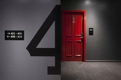 Hotel door design colour ideas for 2019 Door Signage, Signage Display, Wayfinding Signage, Signage Design, Hotel Corridor, Hotel Door, Commercial Design, Commercial Interiors, Colour Architecture
