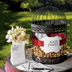 Decorative Love Bird Birdcage, great for personalized wedding notes from your guests.