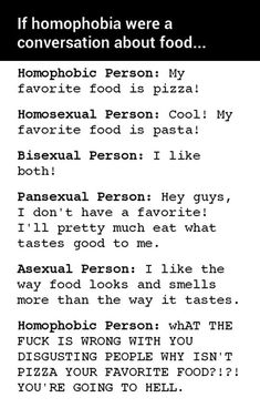If Homophobia Were a Conversation About Food