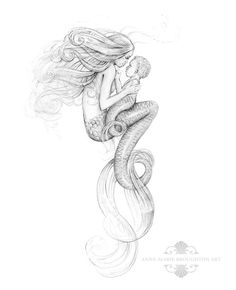 8x10 inch PRINT Mother Mermaid and Mer-Baby Art Graphite