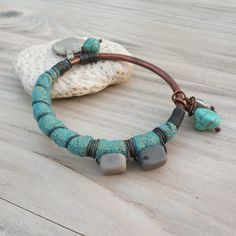 Silk Road Bangle -Turquoise Wrapped Bracelet, Handmade Copper Bangle, Gypsy Coin Charm