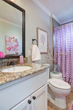 Baby girls bathroom Gingham shower curtain Flowers Pink flower art work