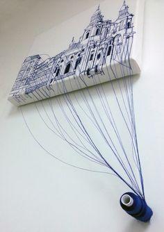 Harriet Popham Textiles - Embroidered Architecture, Prague.