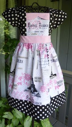 Paris themed girls dress by EmelineDesign on Etsy