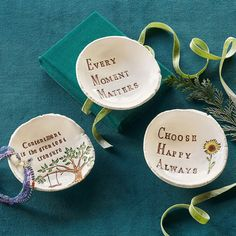 WISE WORDS DISHES -- Handmade, glazed 'Wise Words' porcelain dishes hold sweet sentiments and anything you desire. Made in USA exclusively for Sundance. Every Moment Matters, Slab Pottery, Pottery Studio, Inspirational Message, Wise Words, Handmade Jewelry, Place Card Holders, Ceramics, Dishes