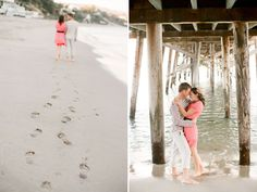 beach engagement photo ideas - love the footprints.  It would be neat to take some near  a pier as well.