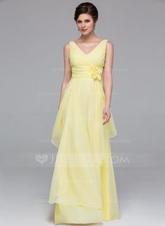 Bridesmaid Dresses - $109.99 - A-Line/Princess V-neck Floor-Length Chiffon Bridesmaid Dress With Ruffle Flower(s) (007037212) http://jjshouse.com/A-Line-Princess-V-Neck-Floor-Length-Chiffon-Bridesmaid-Dress-With-Ruffle-Flower-S-007037212-g37212