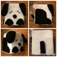 Crocheted dog small tissue box cover.  Directions:  Tissue box cover I used a size G hook (4.5) Ch 20.  Join to the first ch to make a circle.R1: Ch 1, sc in the same st and next 3 sts, 3 sc in the next st (you can place a stitch marker if needed in the middle sc of ea. corner made), *sc in the next 4 sts, 3 sc in the next st. Repeat from *. Join to the first sc. (28)R2: Ch 1, sc in same st and each st to your marker, 3 sc in marked stitch (make sure to move your marker up into the middle…