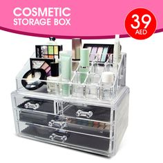 Super Saver Deal ! AED 39 Only   Cosmetic Storage Box with 4 Drawers  Tel ☎️ : 045576800 ➤ WhatsApp 📱: 0551045757   Visit ASET-UAE.COM for more. #asetuae #forwomen #fashion Boxing Online, Super Saver, Cosmetic Storage, Dubai Uae, Daily Deals, Makeup Cosmetics, Drawers, Stuff To Buy, Accessories