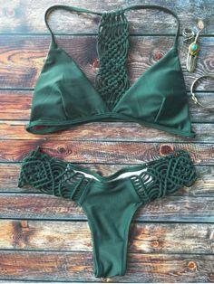 Knitting Strappy Bikini Set - GREEN M