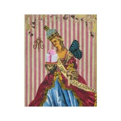 LET THEM EAT CAKE ~ WRAPPED CANVAS ... Marie Antoinette. French, Rococo, pink stripes, vintage, wings, butterfly, cake, flower, star, fashion, unique, designer, home décor, decorate, original, queen, diva, France, French, Paris.