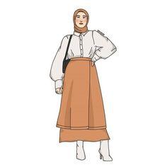 Fashion Illustration Poses, Woman Illustration, Fashion Design Classes, Fashion Design Sketches, Hijab Anime, Fashion Model Drawing, Faia, Hijab Cartoon, Casual Outfits