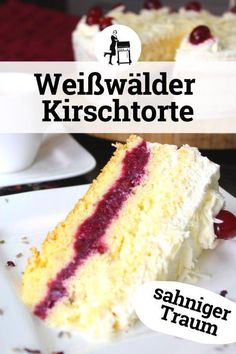 Weißwälder Kirschtorte: sahniger Traum in Rot-Weiß The Weisswälder Kirschtorte is the little sister of the Schwarzwälder Kirschtorte. Easy to bake, it is an eye-catcher on every cake buffet. Red Wine Gravy, Cake Recipes, Dessert Recipes, Cherry Cake, Flaky Pastry, Forest Cake, Mince Pies, Food Cakes, Vanilla Cake