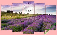 Tranh bộ treo tường phong cảnh đồng hoa oải hương