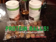 Herbalife Protein balls  1 cup Chocolate Formula 1 1 cup reduced fat peanut butter 1 cup oats 1/2 cup honey Just a little water  - mix all ingredients and roll into balls. Let sit out or in fridge.