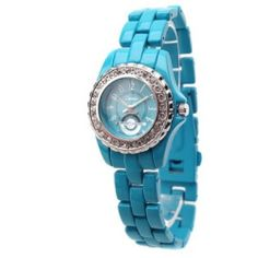 Turquoise CZ Metal Link Watch