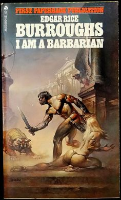 BORRIS VALLEJO - art for I Am A Barbarian by Edgar Rice Burroughs - 1974 Ace Books